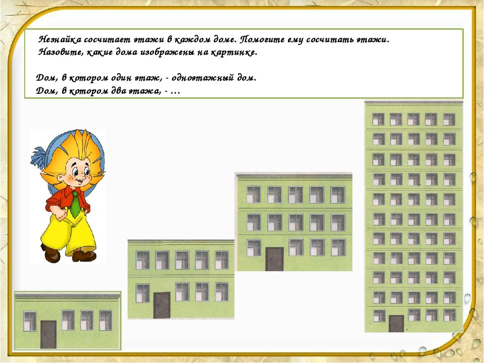 Незнайка сосчитает этажи в каждом доме. Помогите ему сосчитать этажи. Назови...