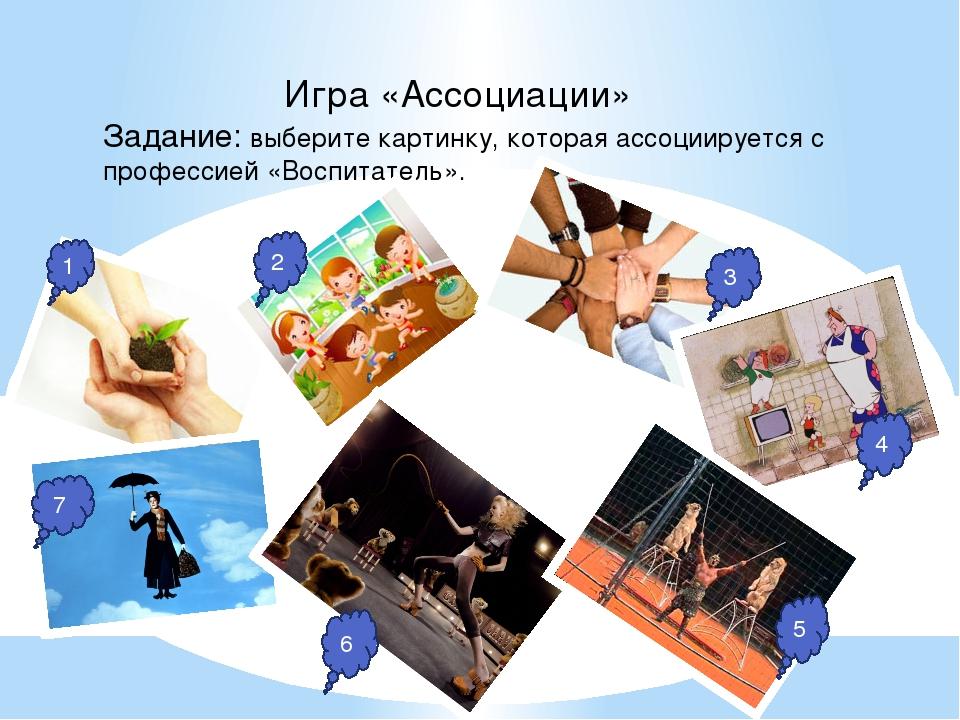 Игра «Ассоциации» Задание: выберите картинку, которая ассоциируется с профес...