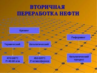 ВТОРИЧНАЯ ПЕРЕРАБОТКА НЕФТИ Термический Каталитический Крекинг Риформинг 470-