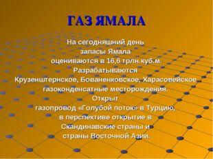 ГАЗ ЯМАЛА На сегодняшний день запасы Ямала оцениваются в 16,6 трлн.куб.м. Раз