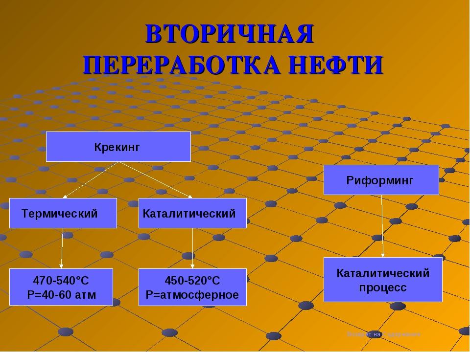 ВТОРИЧНАЯ ПЕРЕРАБОТКА НЕФТИ Термический Каталитический Крекинг Риформинг 470-...