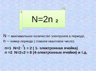 N=2n 2 N – максимальное количество электронов в периоде, n – номер периода (