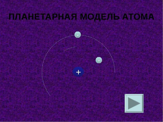 + - - ПЛАНЕТАРНАЯ МОДЕЛЬ АТОМА