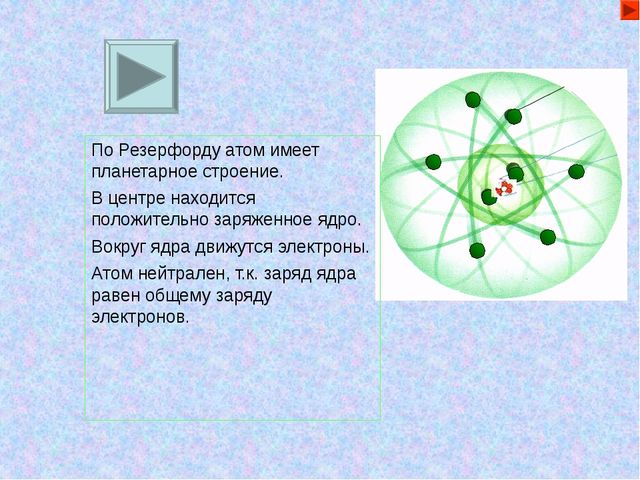 По Резерфорду атом имеет планетарное строение. В центре находится положительн...