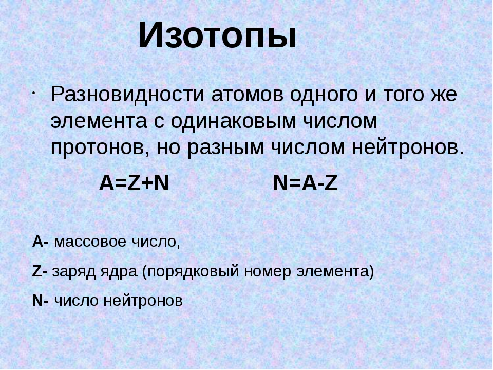 Разновидности атомов одного и того же элемента с одинаковым числом протонов,...