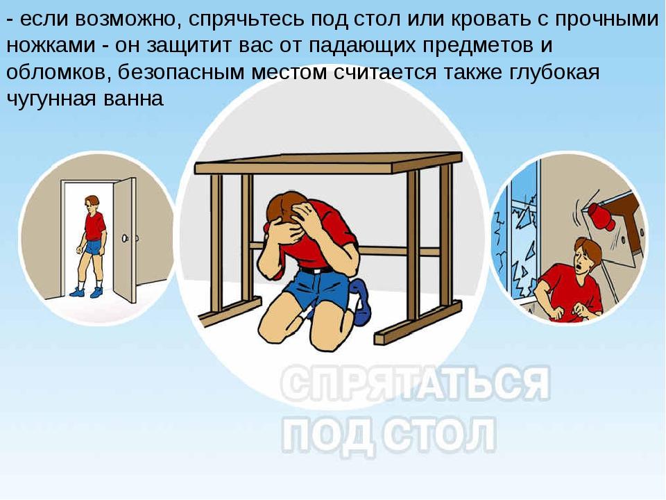 - если возможно, спрячьтесь под стол или кровать с прочными ножками - он защи...