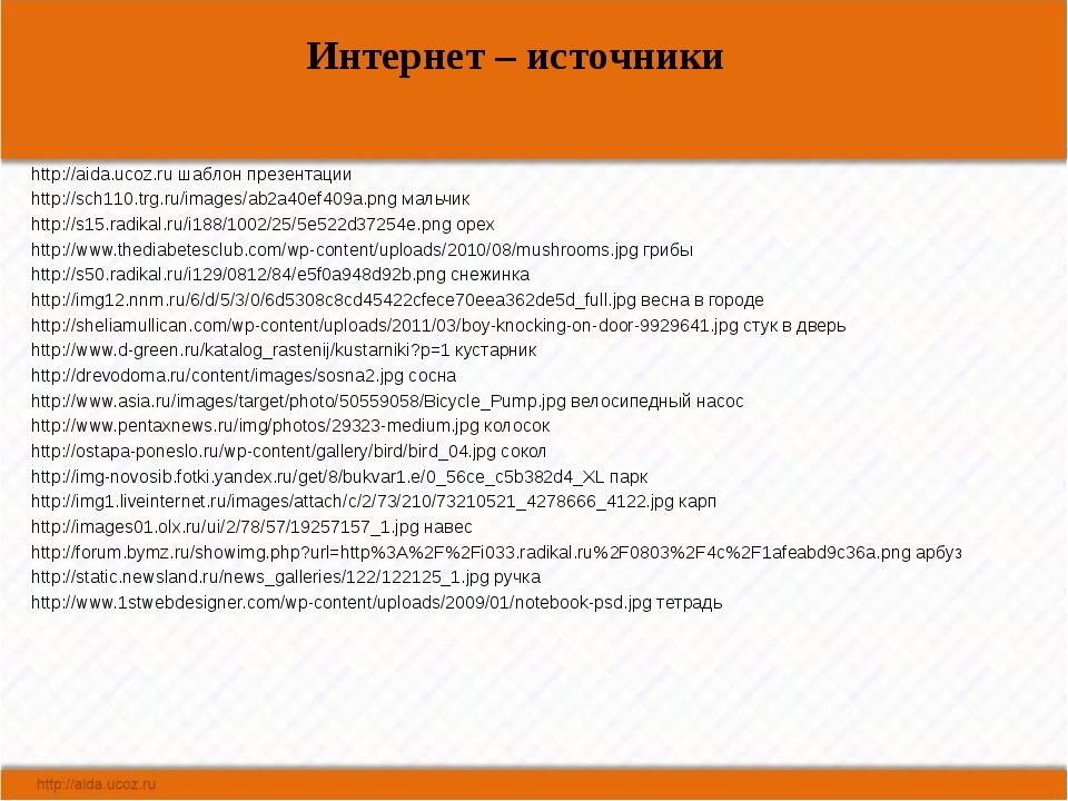 Интернет – источники http://aida.ucoz.ru шаблон презентации http://sch110.trg...