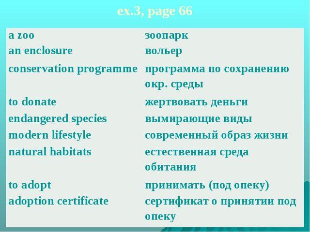ex.3, page 66 azoo anenclosure зоопарк вольер conservationprogramme программа...