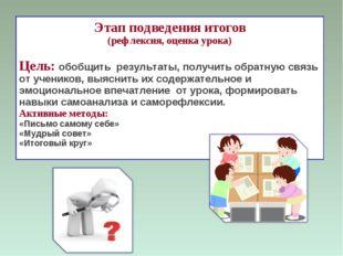 Этап подведения итогов (рефлексия, оценка урока) Цель: обобщить результаты, п