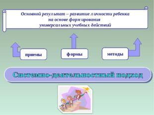 Основной результат – развитие личности ребенка на основе формирования универс