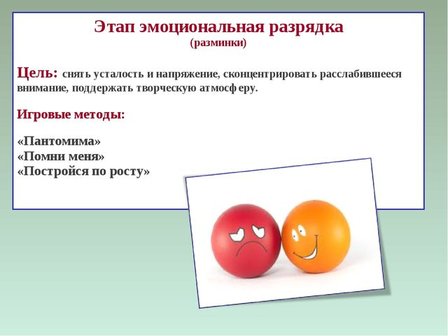 Этап эмоциональная разрядка (разминки) Цель: снять усталость и напряжение, ск...