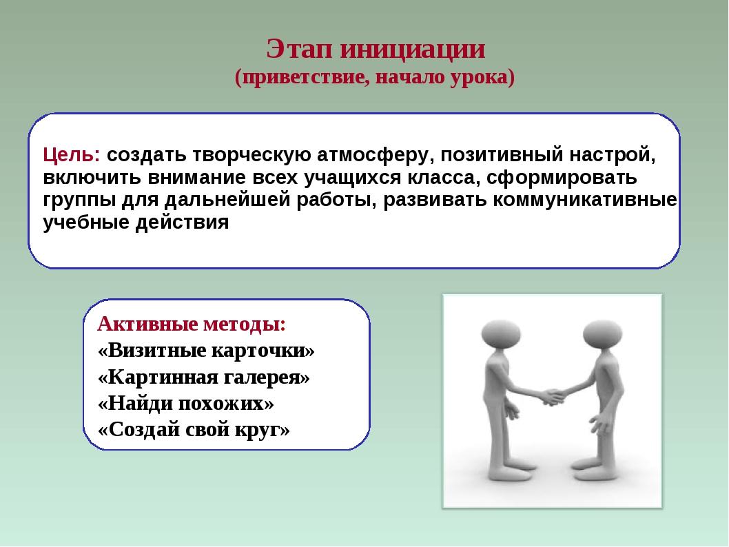 Этап инициации (приветствие, начало урока) Цель: создать творческую атмосферу...