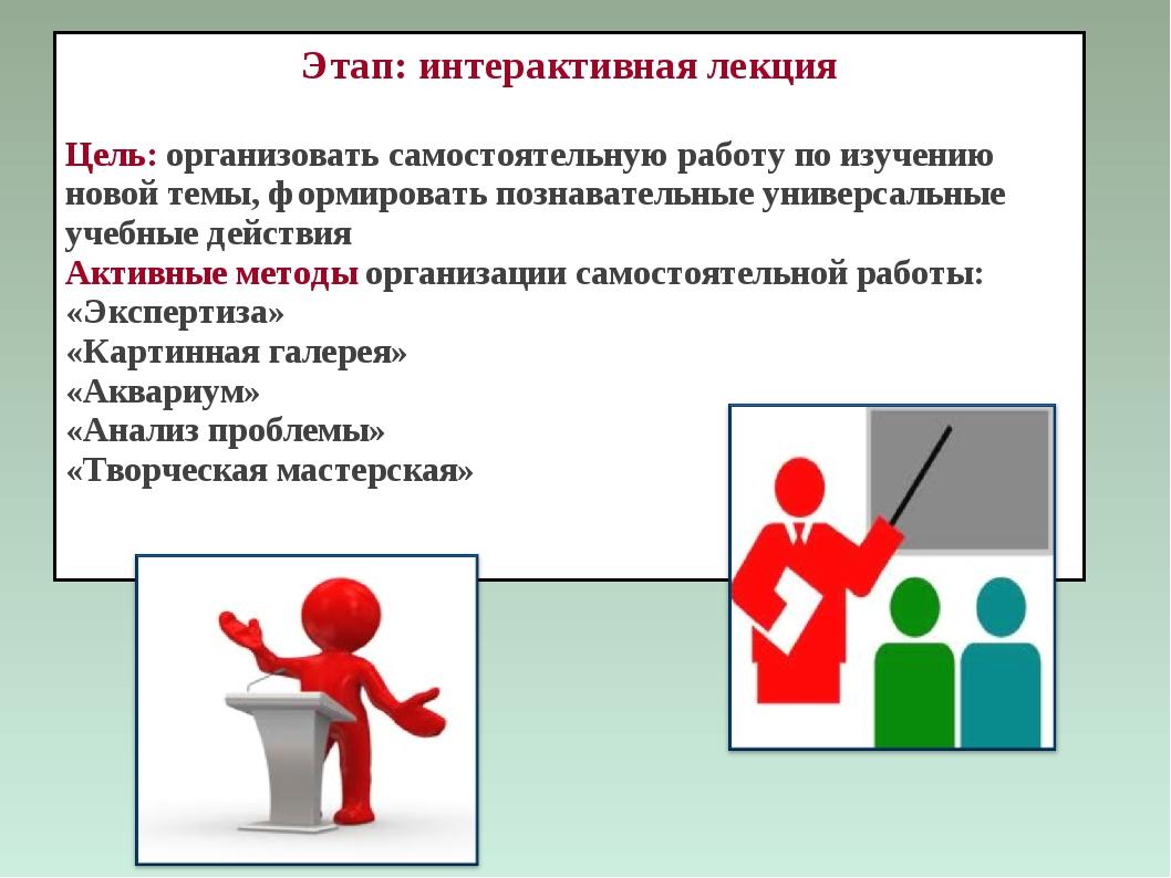 Этап: интерактивная лекция Цель: организовать самостоятельную работу по изуче...