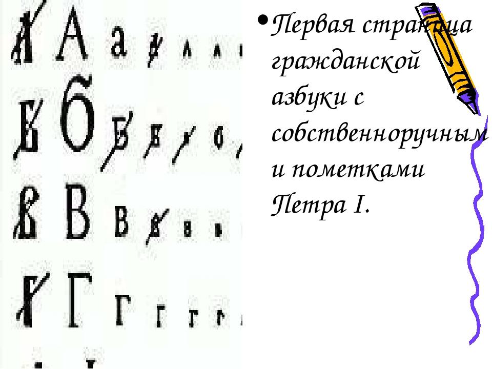 Первая страница гражданской азбуки с собственноручными пометками Петра I.