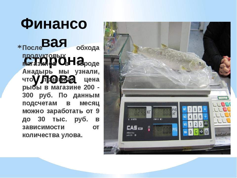 Финансовая сторона улова После обхода продуктовых магазинов в городе Анадырь...