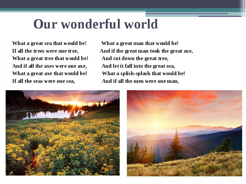Our wonderful world What a great sea that would be! What a great man that wou...