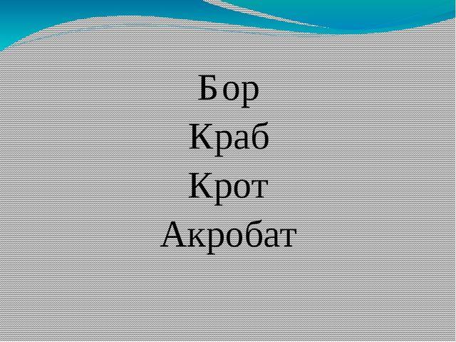 Бор Краб Крот Акробат