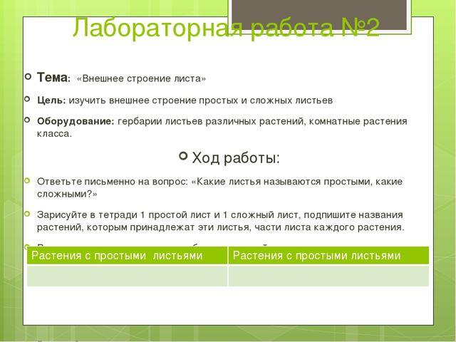 Лабораторная работа №2 Тема: «Внешнее строение листа» Цель: изучить внешнее с...