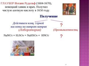 * Получение ГЛАУБЕР Иоганн Рудольф (1604-1670), немецкий химик и врач. Получи