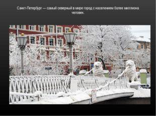 Санкт-Петербург — самый северный в мире город с населением более миллиона чел