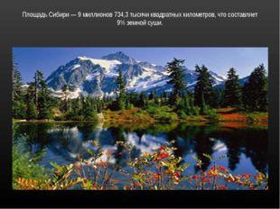 Площадь Сибири — 9 миллионов 734,3 тысячи квадратных километров, что составля