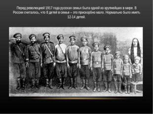 Перед революцией 1917 года русская семья была одной из крупнейших в мире. В Р