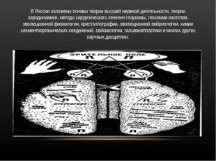 В России заложены основы теории высшей нервной деятельности, теории аэродинам
