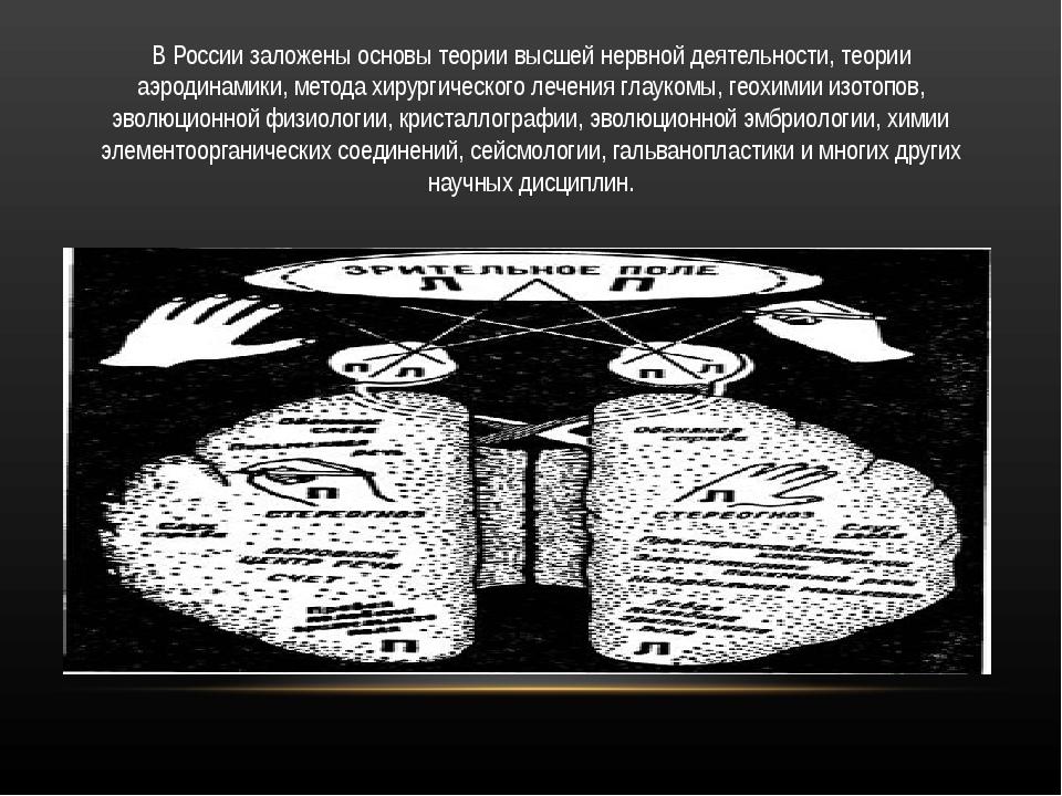 В России заложены основы теории высшей нервной деятельности, теории аэродинам...