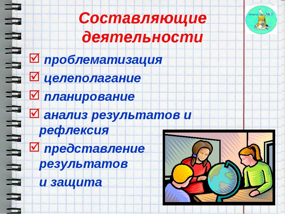 Составляющие деятельности проблематизация целеполагание планирование анализ р...