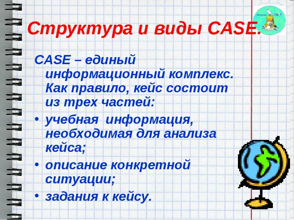 CASE – единый информационный комплекс. Как правило, кейс состоит из трех част...