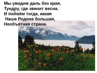 Мы увидим даль без края, Тундру, где звенит весна. И поймём тогда, какая Наша