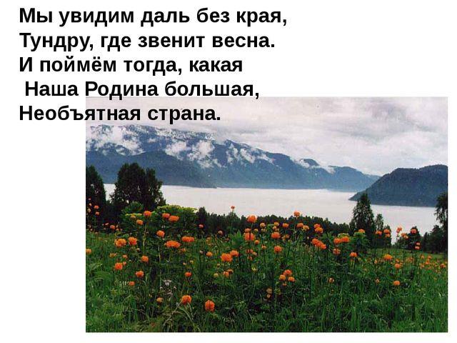 Мы увидим даль без края, Тундру, где звенит весна. И поймём тогда, какая Наша...