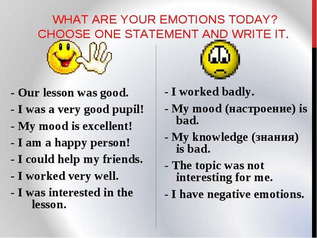 WHAT ARE YOUR EMOTIONS TODAY? CHOOSE ONE STATEMENT AND WRITE IT. - Our lesso...