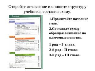 Откройте оглавление и опишите структуру учебника, составив схему. 1.Прочитайт