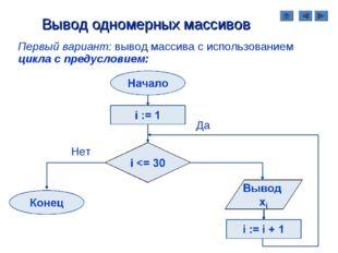 Вывод одномерных массивов Первый вариант: вывод массива с использованием цикл