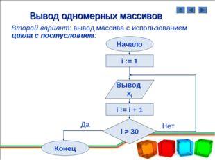 Вывод одномерных массивов Второй вариант: вывод массива с использованием цикл