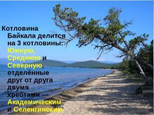 Котловина Байкала делится на 3 котловины: Южную, Среднюю и Северную, отделённ