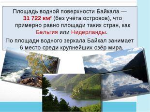 Площадь водной поверхности Байкала— 31722 км² (без учёта островов), что при