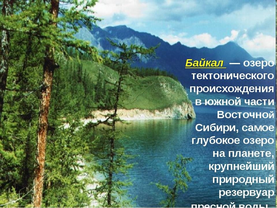 Байкал— озеро тектонического происхождения в южной части Восточной Сибири,...