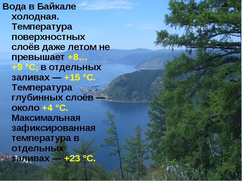 Вода в Байкале холодная. Температура поверхностных слоёв даже летомне превыш...