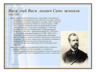 Васи́лий Васи́льевич Сапо́жников 1861-1924 Научно-педагогическая деятельность