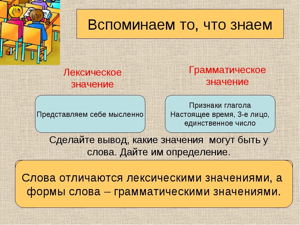 Лексическое значение Грамматическое значение Сделайте вывод, какие значения м...