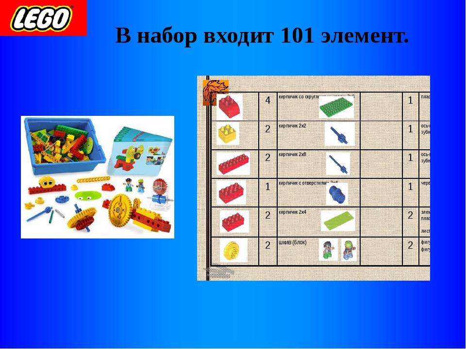 В набор входит 101 элемент.