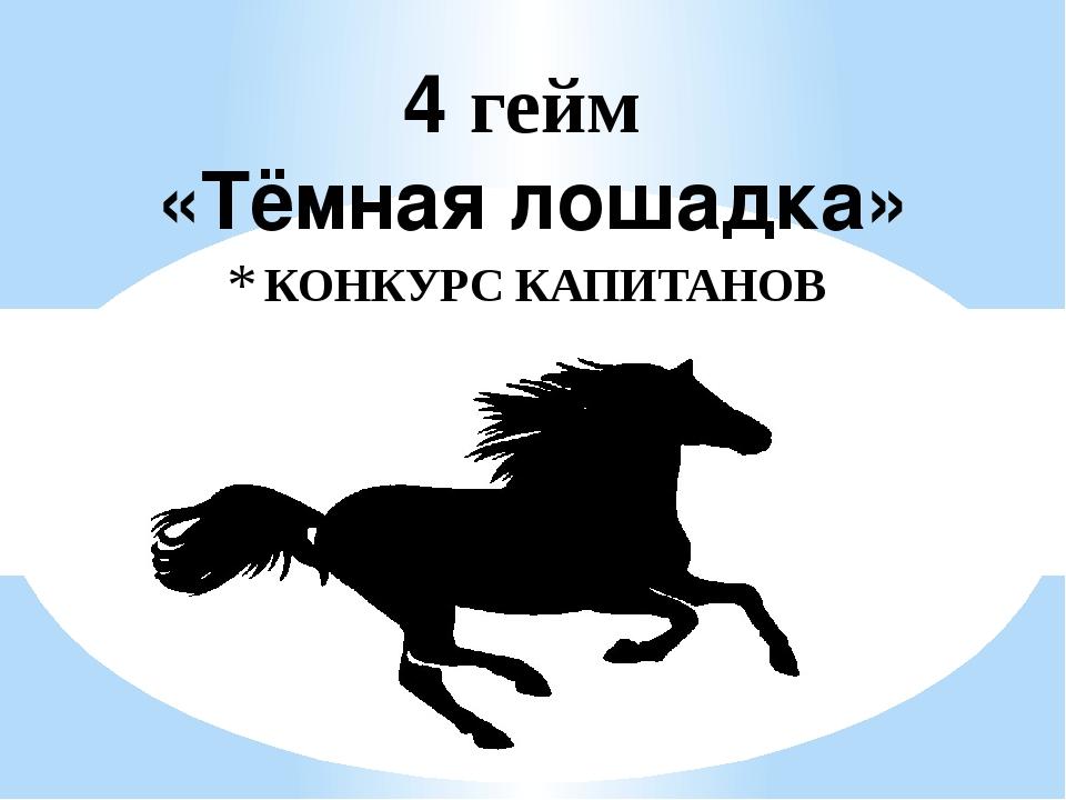 """КОНКУРС КАПИТАНОВ 4 гейм «Тёмная лошадка» """"Звездный час"""""""