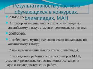 Результативность участия в обучающихся в конкурсах, олимпиадах, МАН 2014/2015