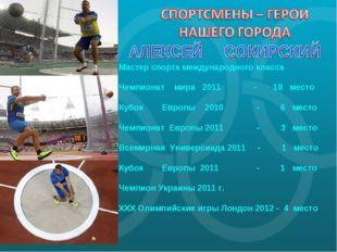 Мастер спорта международного класса Чемпионат мира 2011 - 18 место Кубок Евро
