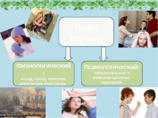 Виды стресса Психологический: эмоциональные и информа-ционные перегрузки Физи