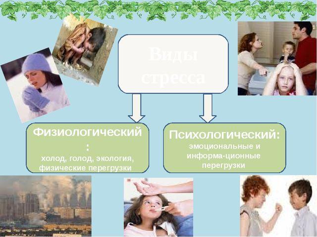 Виды стресса Психологический: эмоциональные и информа-ционные перегрузки Физи...