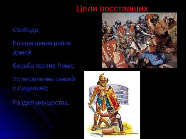 Свобода; Возвращения рабов домой; Борьба против Рима; Установление связей с С...
