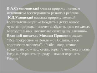 В.А.Сухомлинский считал природу главным источником всестороннего развития реб